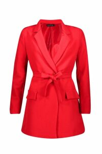 Womens Wrap Detail Belted Blazer - red - 8, Red