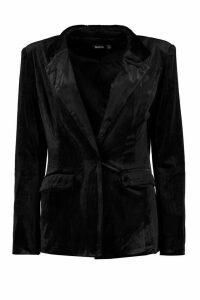 Womens Premium Velvet Suit Blazer - black - 14, Black