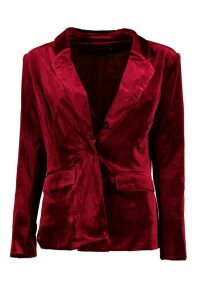 Womens Premium Velvet Suit Blazer - red - 14, Red