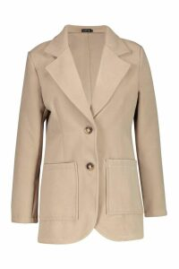 Womens Double Pocket Wool Look Blazer Coat - beige - 12, Beige