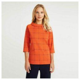 Burnt Orange Bardot Check Top