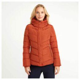 Burnt Orange Ribbed and Padded Nylon Jacket