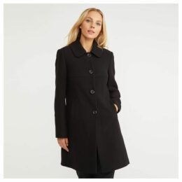 Black Crepe Button Through Coat