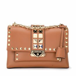Michael Kors Cece Md Shoulder Bag In Leather Leather With Golden Studs