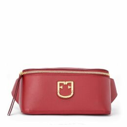 Furla Isola Carrier Made Of Red Textured Leather With Logo