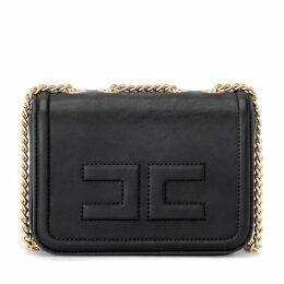 Elisabetta Franchi Shoulder Bag Made Of Black Vegan Leather With Golden Chain