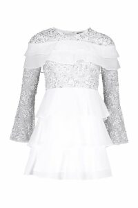 Womens Premium Hand Embellished Tiered Skater Dress - white - 6, White