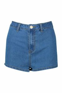 Womens High Rise Stretch Denim Short - blue - 8, Blue