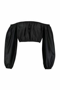 Womens Balloon Sleeve Shellsuit Bardot Top - black - 14, Black