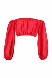 Womens Balloon Sleeve Shellsuit Bardot Top - red - 14, Red