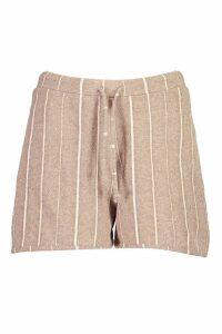 Womens Tonal Stripe Oversized Soft Lounge Top - beige - 12, Beige