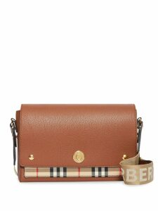 Burberry Leather and Vintage Check Note Crossbody Bag - Brown