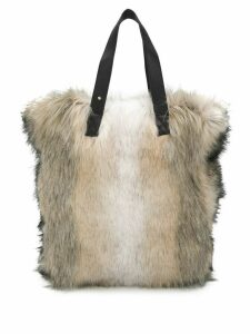 Urbancode large faux-fur tote bag - Neutrals
