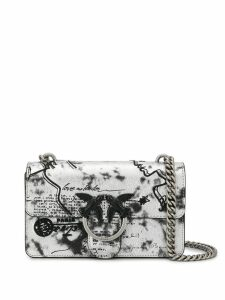 Pinko Mail print shoulder bag - Silver