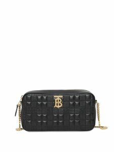 Burberry Quilted Check Lambskin Camera Bag - Black