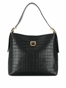 Furla crocodile embossed tote - Black