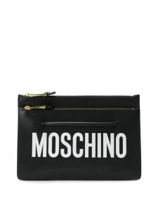 Moschino logo clutch bag - Black