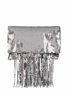 Galvan Stardust fringe clutch - Silver