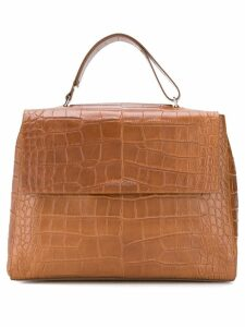 Orciani crocodile effect tote bag - Brown