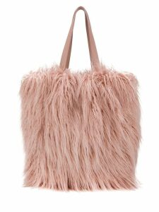 Coccinelle textured furry tote - Pink