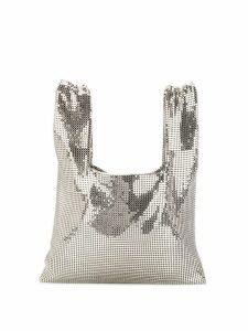 Kara mini chainmail shopper tote - Silver