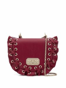 Red Valentino RED (V) lace up ruffle bag