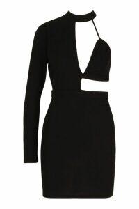 Womens Cut Out High Neck Bodycon Dress - black - 14, Black