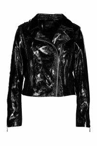 Womens Vinyl Biker Jacket - black - S, Black