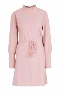 Womens Frill Neck Button Sleeve Shift Dress - pink - S, Pink