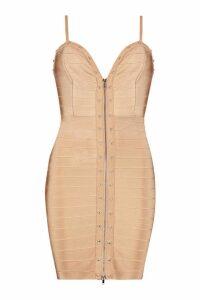 Womens Studded Strappy Bandage Bodycon Mni Dress - beige - 6, Beige