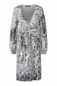 Womens Sequin Plunge Belted Midi Dress - grey - 8, Grey