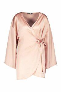 Womens Satin Wide Sleeve Wrap Dress - Beige - 16, Beige