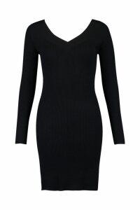 Womens Skinny Rib V Front & Back Dress - black - M, Black
