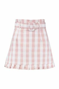 Womens Gingham Check Belted Ruffle Hem Mini - Pink - 12, Pink