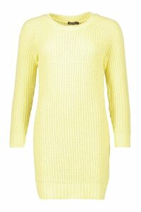Womens Pastel Soft Knit Jumper Dress - yellow - L, Yellow
