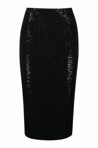 Womens Sequin Effect Midaxi Skirt - black - 8, Black