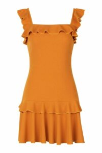 Womens Ruffle Strap Drop Hem Mini Dress - yellow - 10, Yellow