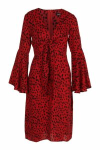 Womens Knot Front Cheetah Print Midi Dress - red - 12, Red