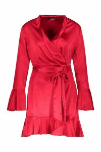 Womens Satin Frill Detail Wrap Skater Dress - red - 8, Red