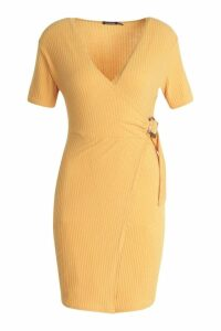 Womens Wrap Rib Tort Shell Dress - yellow - 12, Yellow