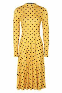 Womens High Neck Long Sleeve Polka Dot Midi Dress - yellow - 14, Yellow