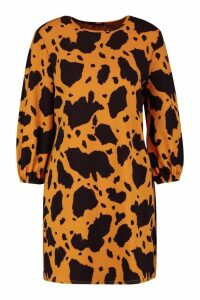 Womens Balloon Sleeve Cheetah Print Shift Dress - yellow - 8, Yellow