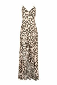 Womens Leopard Strappy Ruffle Maxi Dress - brown - 8, Brown