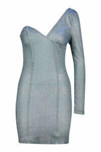 Womens One Shoulder Metallic Mini Dress - purple - 10, Purple