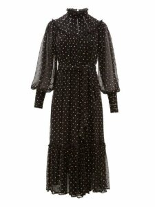 Zimmermann - Espionage Polka Dot Silk Chiffon Midi Dress - Womens - Black Print