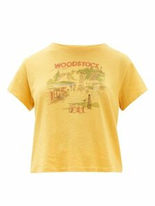 Solid & Striped - X Re/done Woodstock Print Cotton T Shirt - Womens - Yellow