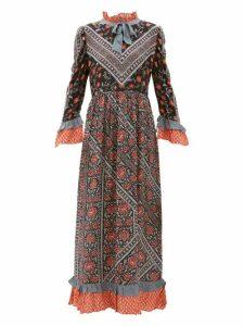 D'ascoli - Coromandel Printed Silk Dress - Womens - Black Multi