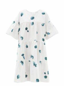 Merlette - St. Germain Watercolour Print Tiered Cotton Dress - Womens - White Print