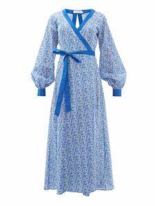 The Upside - Kate Floral Print Cotton Wrap Dress - Womens - Blue White