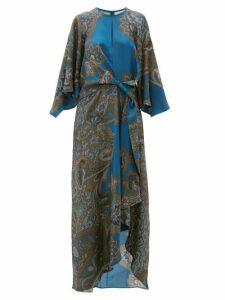 D'ascoli - Samovar Paisley Print Silk Twill Maxi Dress - Womens - Blue Multi